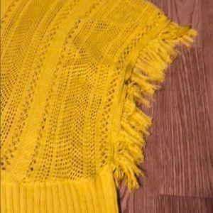 fashion blvd Tops - Women's yellow fringe poncho top